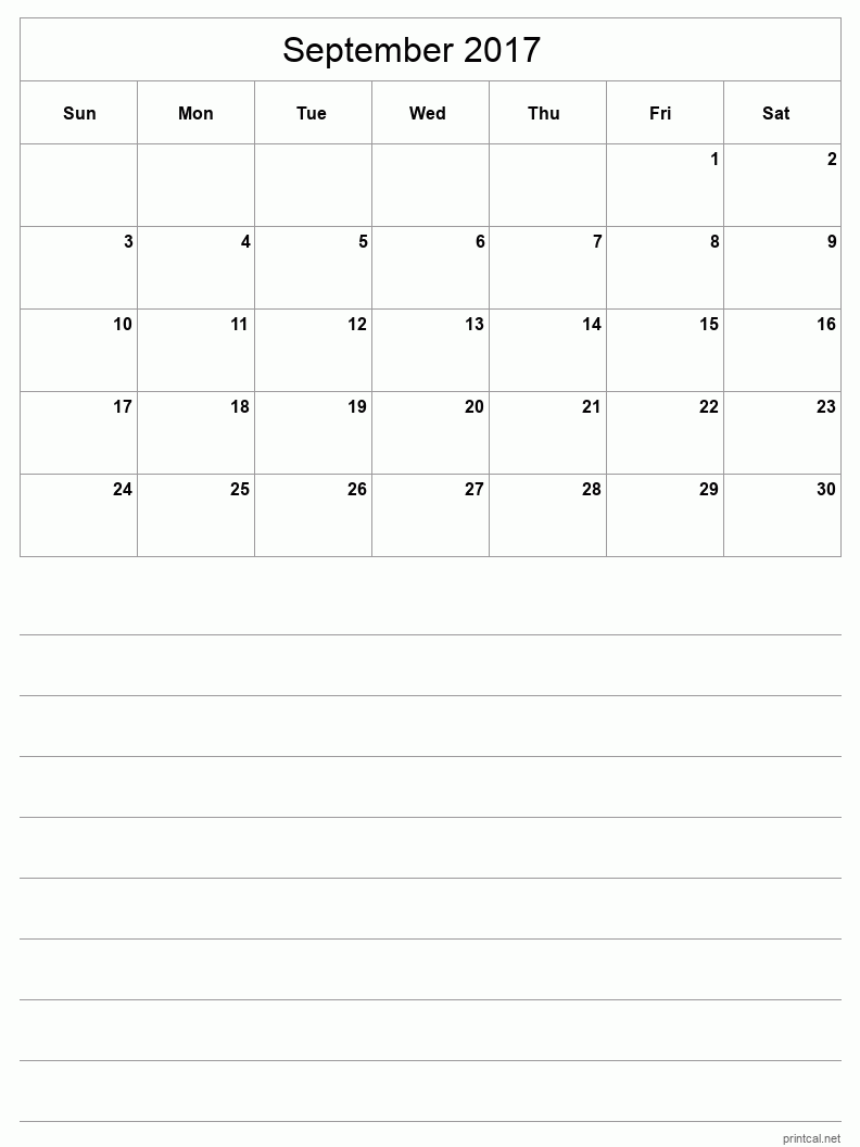 Printable September 2017 Blank Calendar - half-page with notes