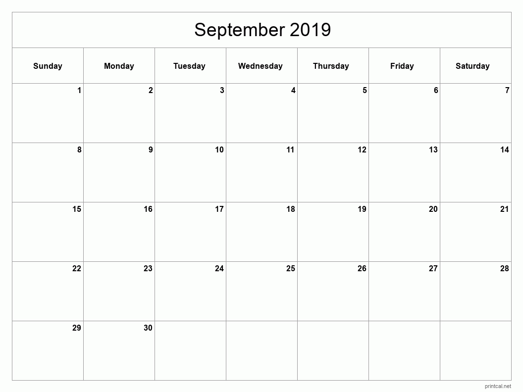 Printable September 2019 Blank Calendar - full-page, blank grid