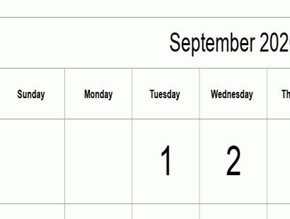 Printable full-year calendars for 2020