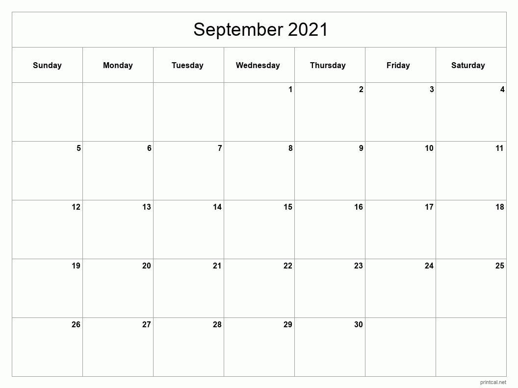 Printable September 2021 Calendar | Free Printable Calendars
