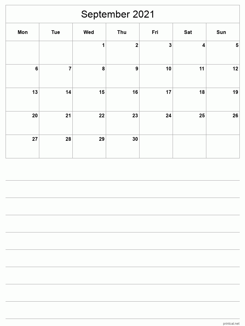 September 2021 Printable Calendar - Half-Page With Notesheet
