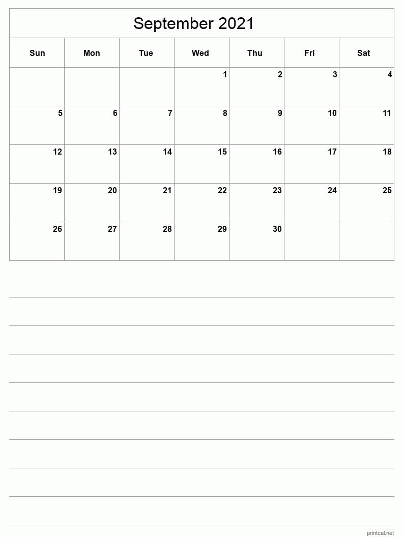 Printable September 2021 Calendar - Template #3 (half-page ...