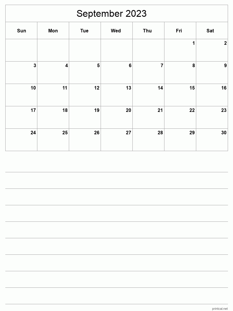 September 2023 Printable Calendar - Half-Page With Notesheet