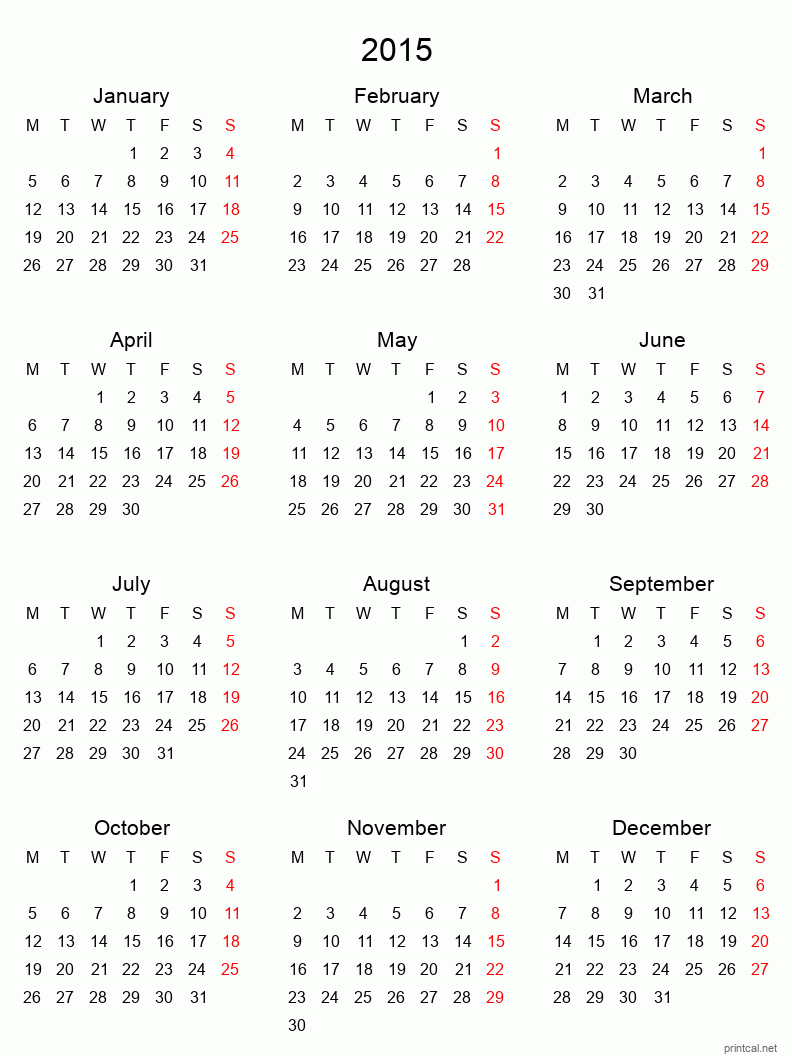 Printable 2015 Calendar - Blank Template #1 (simple, tabular)