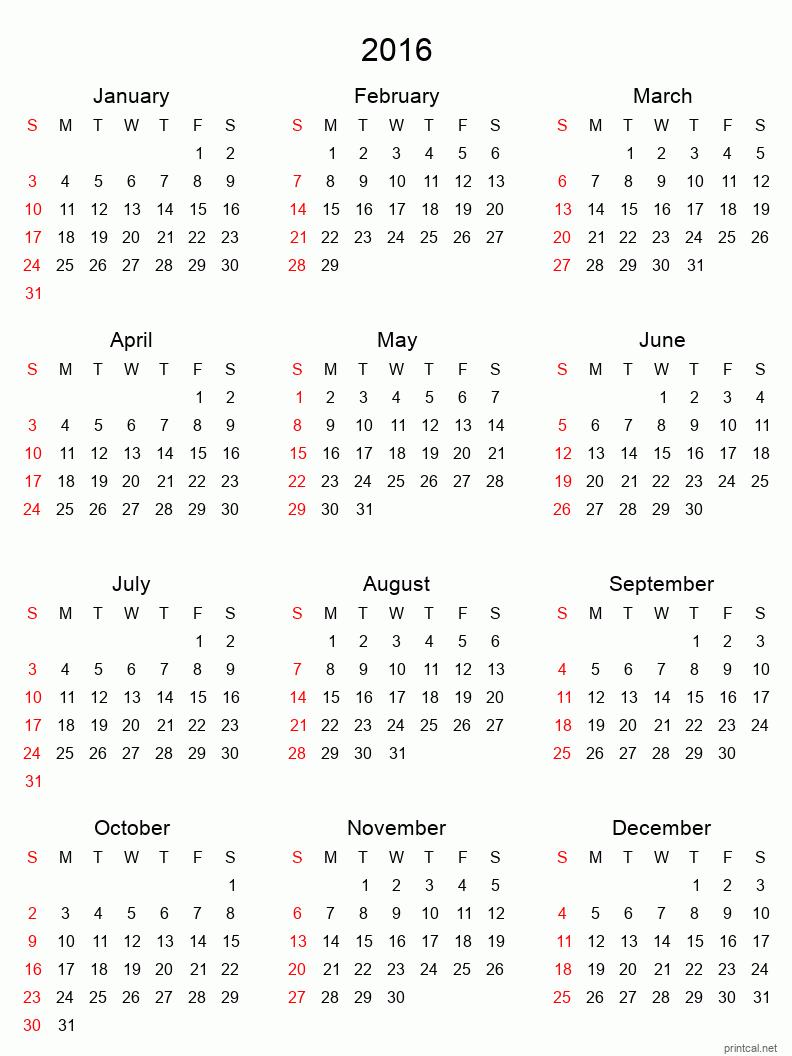 Printable full-year calendars for 2016