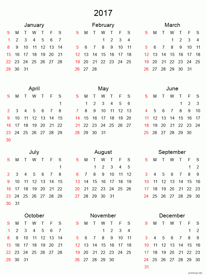 Printable full-year calendars for 2017