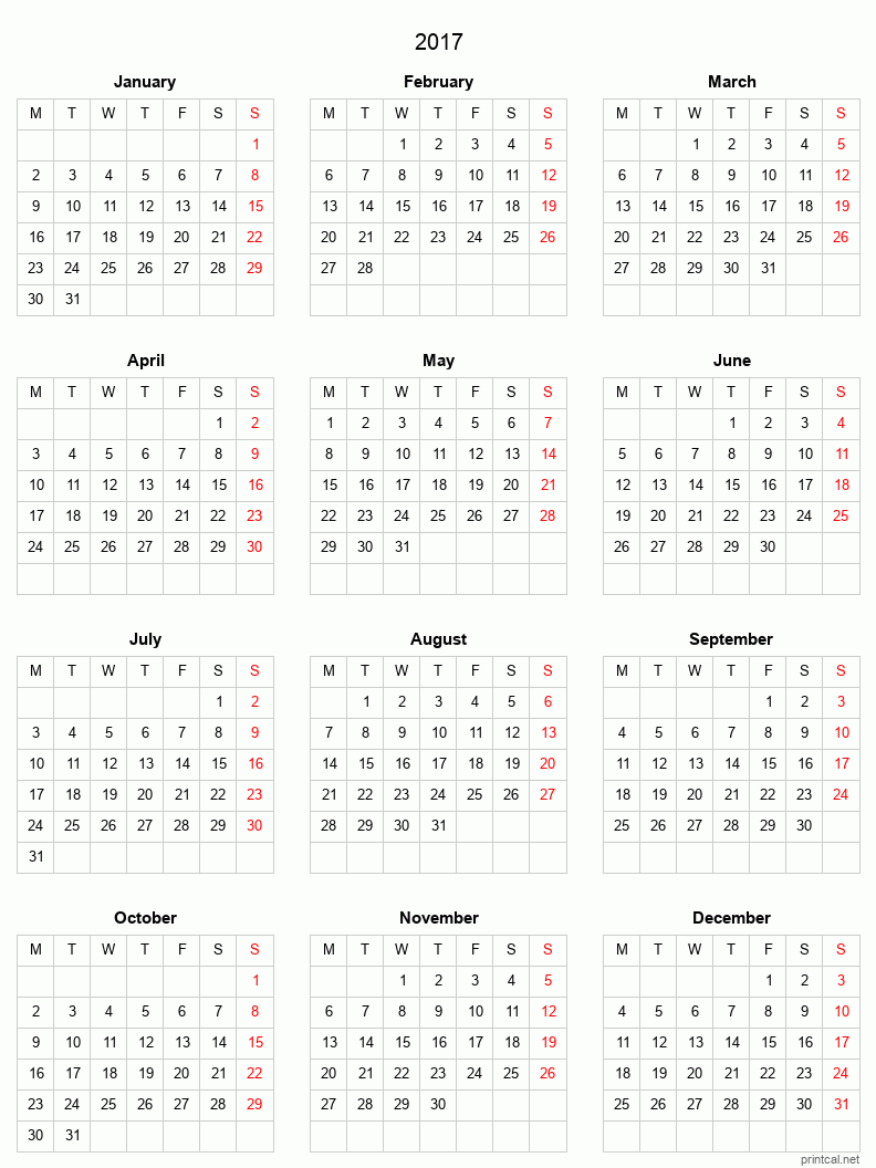 Printable 2017 Calendar - simple, grid