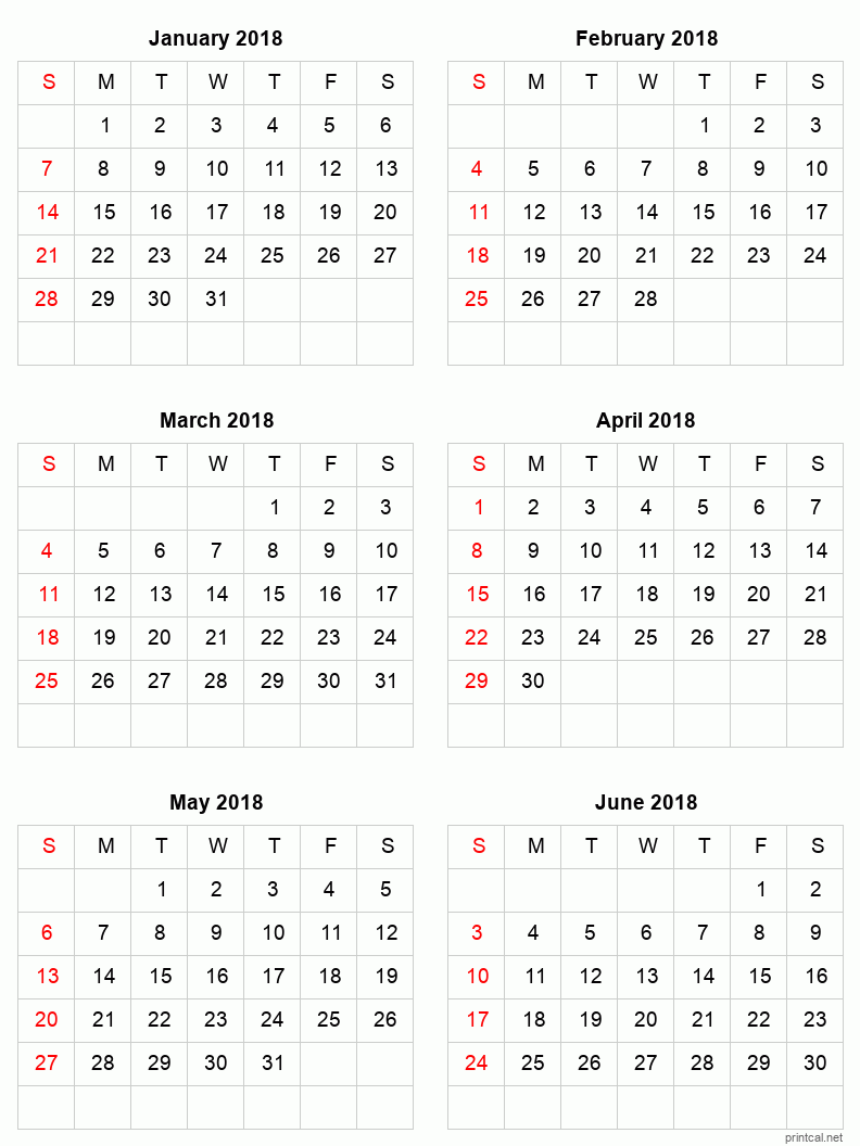 6 month calendar for January to June 2018