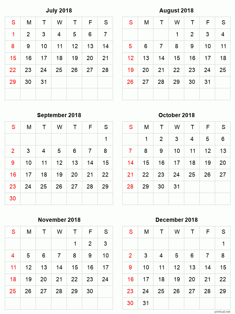 6 month calendar for July to December 2018