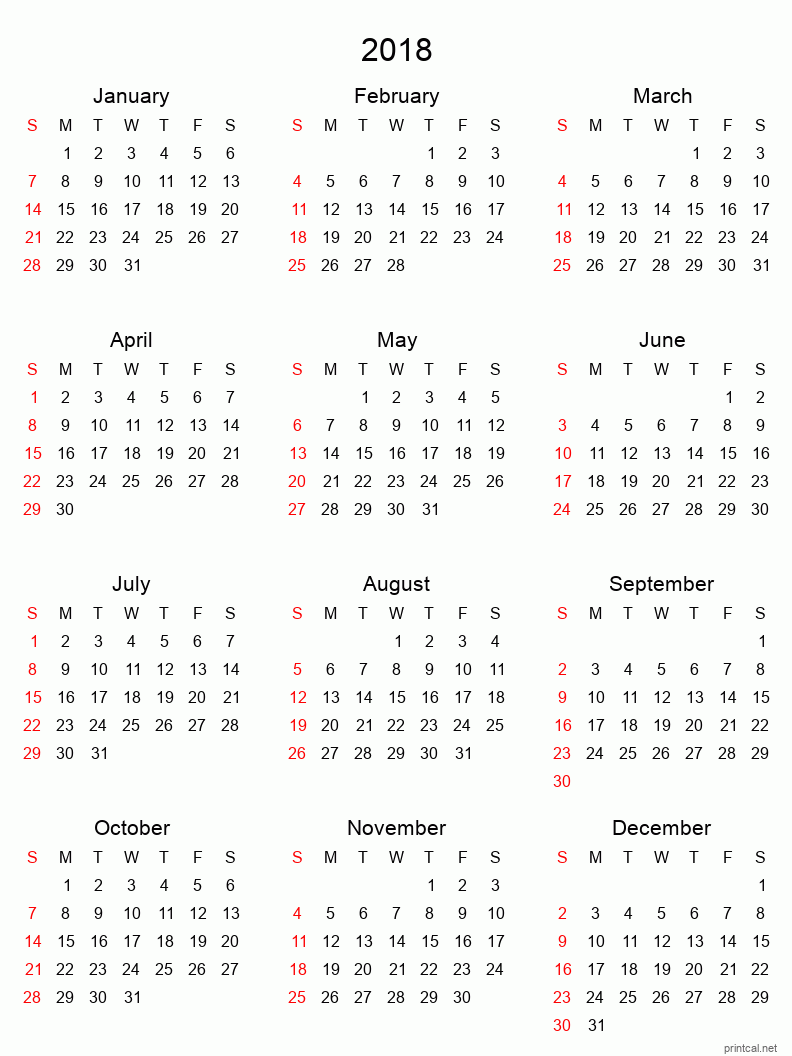 Printable 2018 Calendar - simple, tabular