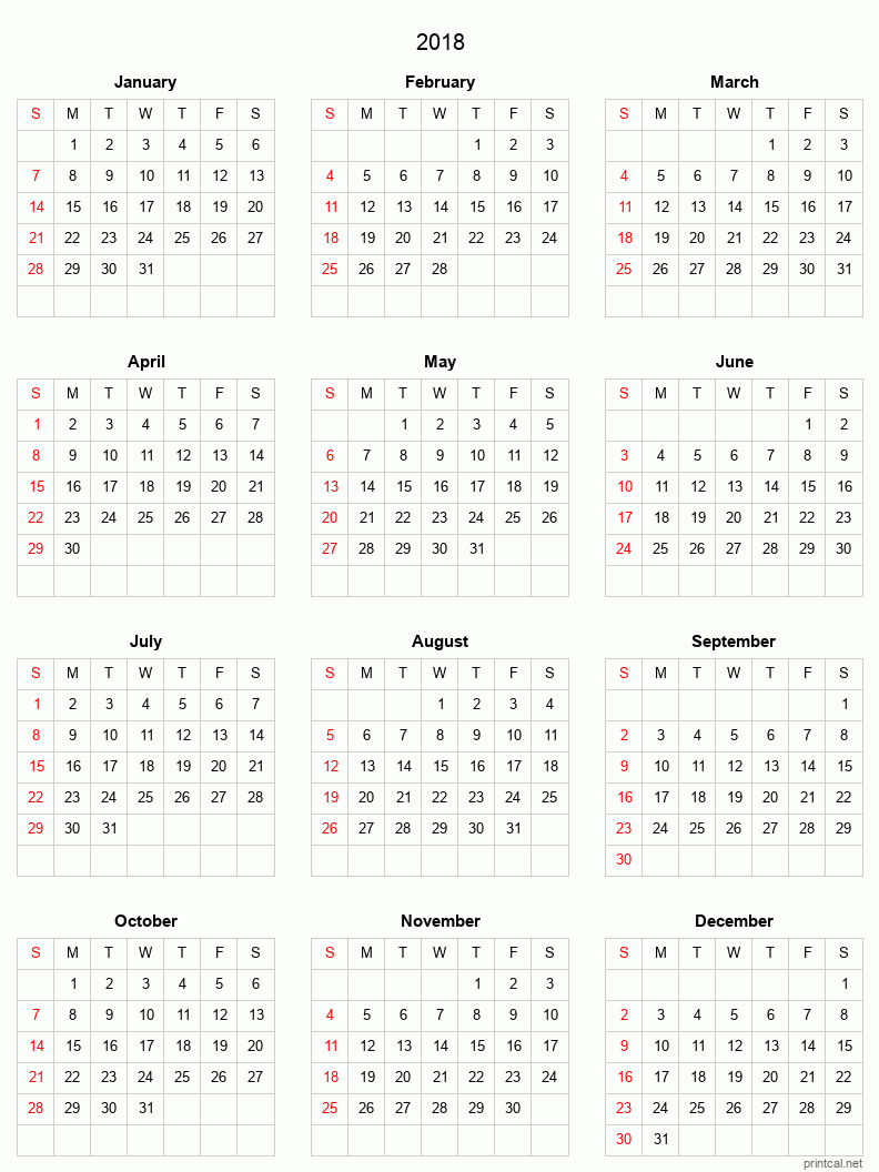 Printable 2018 Calendar - simple, grid