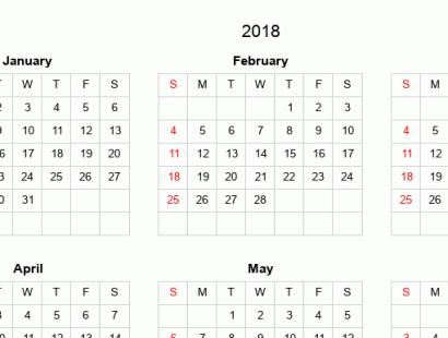 Printable full-year calendars for 2018
