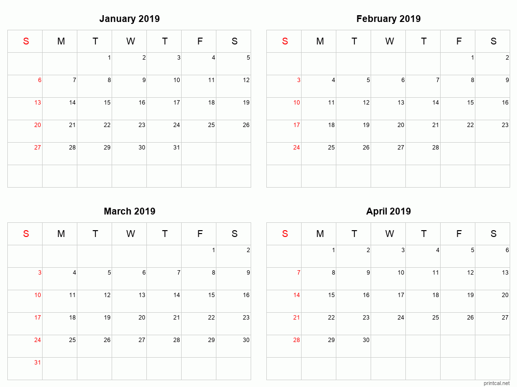4 month calendar for January to April 2019
