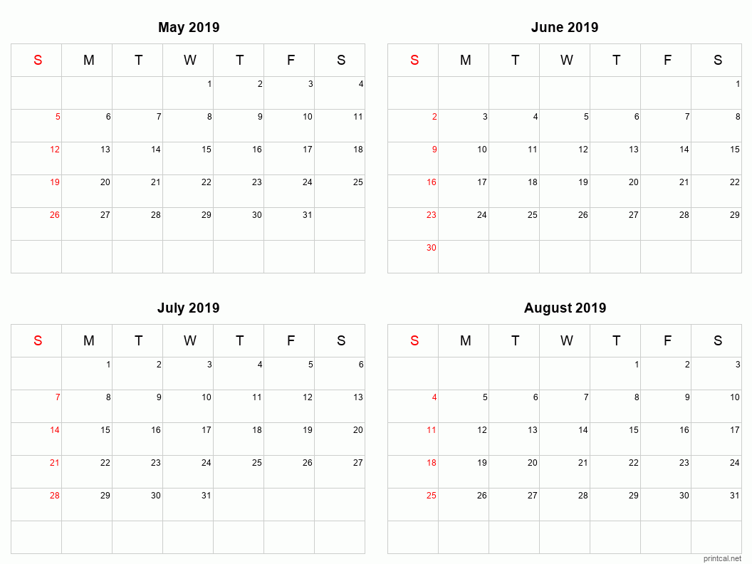 4 month calendar for May to August 2019