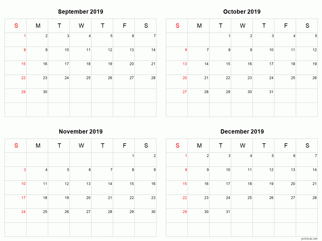 4 month calendar September to December 2019