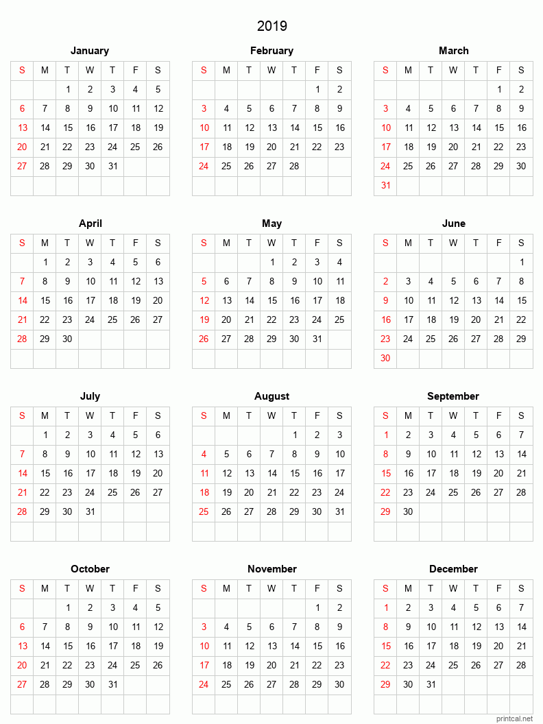 Printable 2019 Calendar - simple, grid