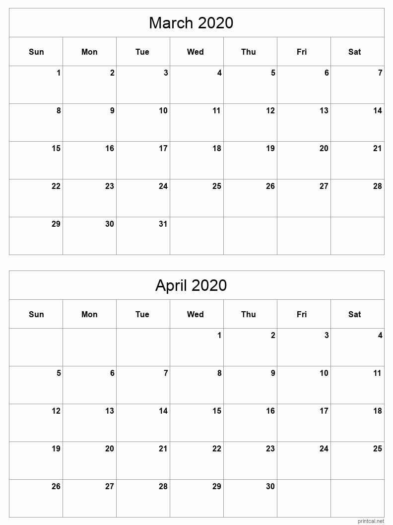 2 month calendar March - April 2020