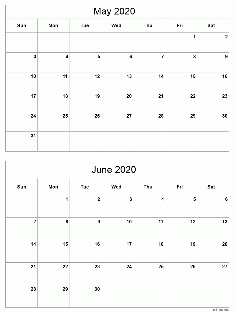2 month calendar May - June 2020