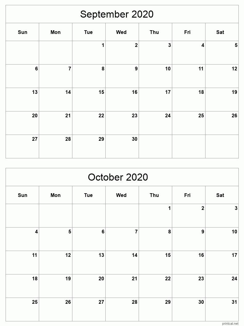 2 month calendar September - October 2020