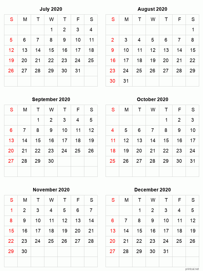 6 month calendar Jul-Dec 2020