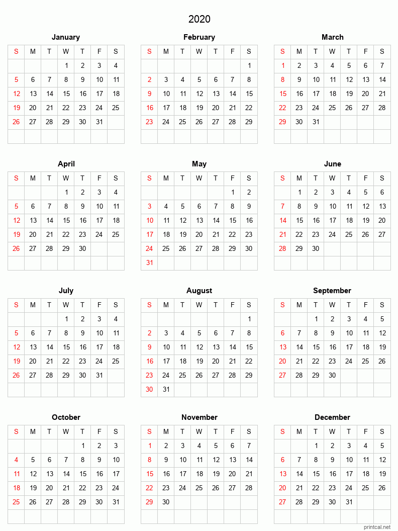 Printable 2020 Calendar - simple, grid
