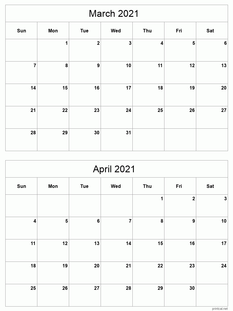 Printable 2021 Calendar - Two Months Per Page | Free ...