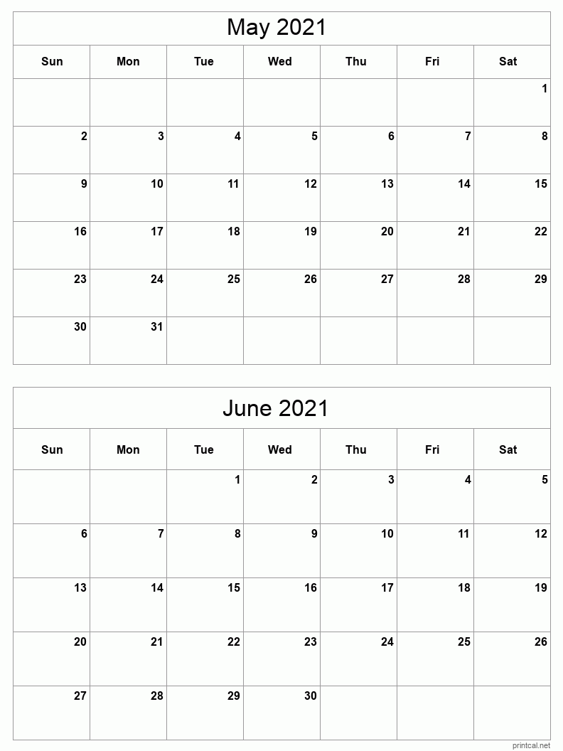 Printable 2021 Calendar - Two Months Per Page   Free ...