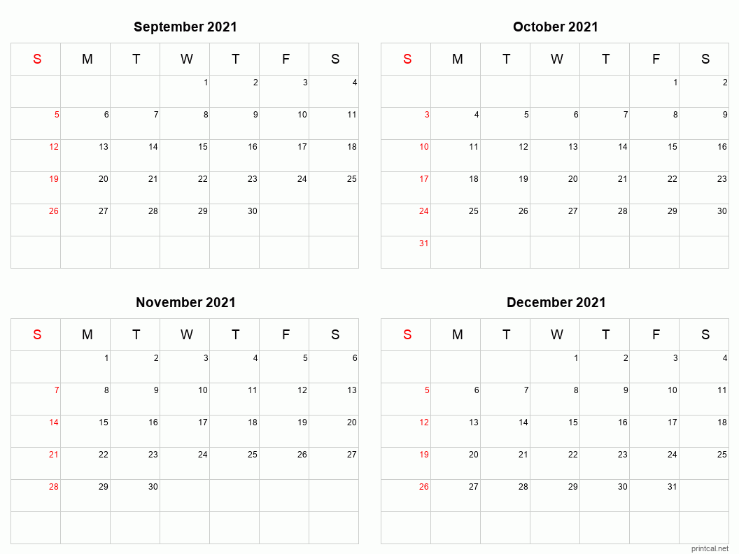 4 month calendar Sep-Dec 2021
