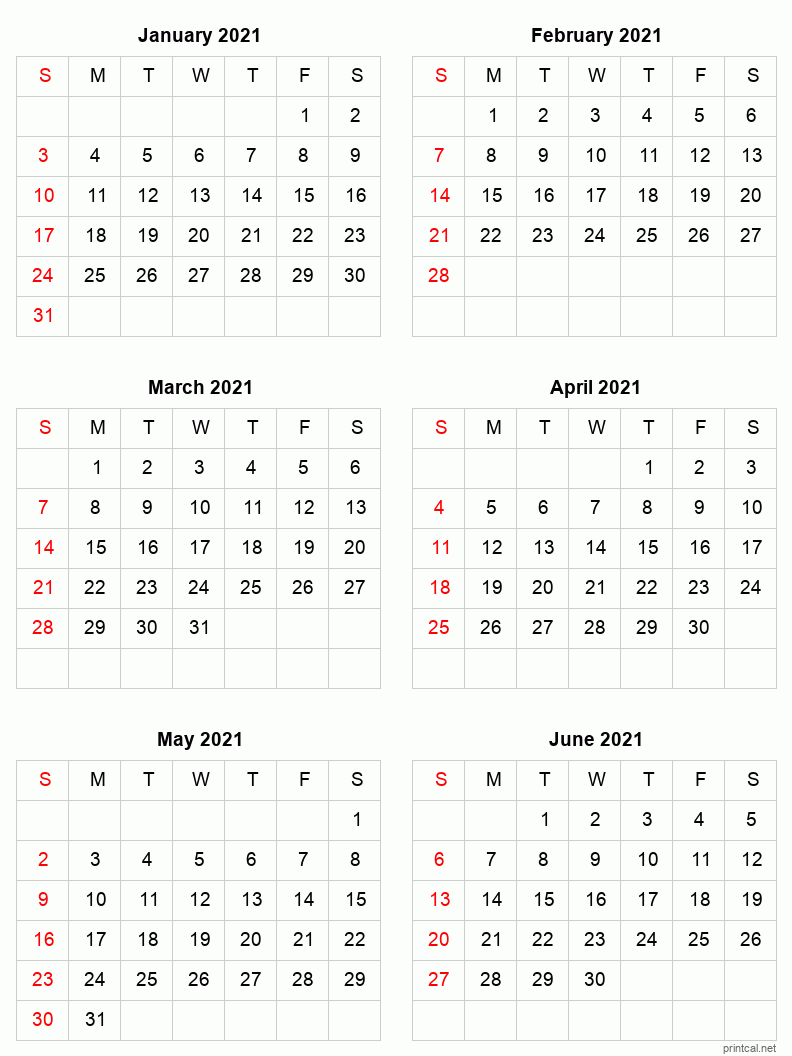 Printable 2021 Calendar - Six Months Per Page | Free ...