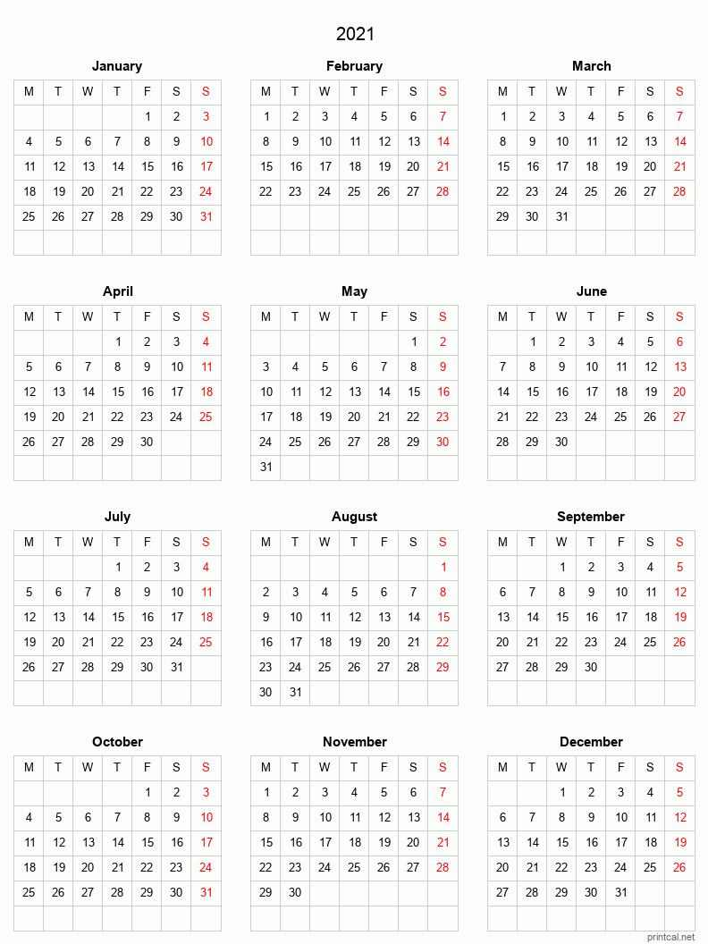 Printable 2021 Full-Year Calendar