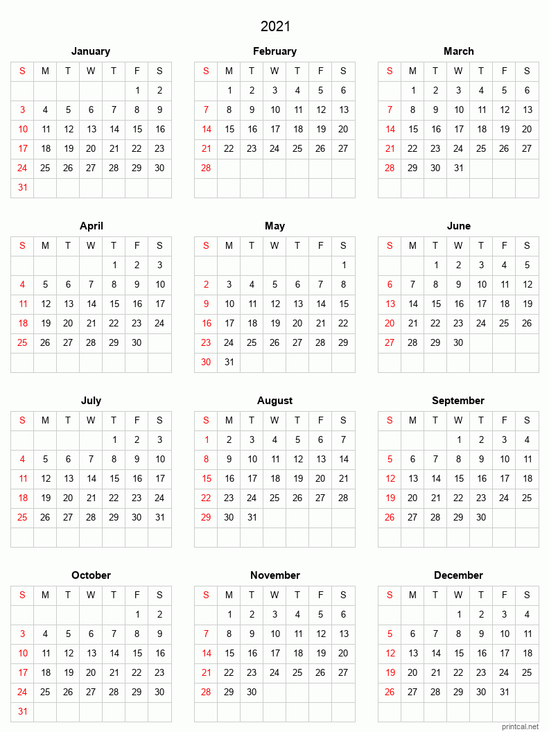 Printable 2021 Calendar - Blank Template #3 (simple, grid)
