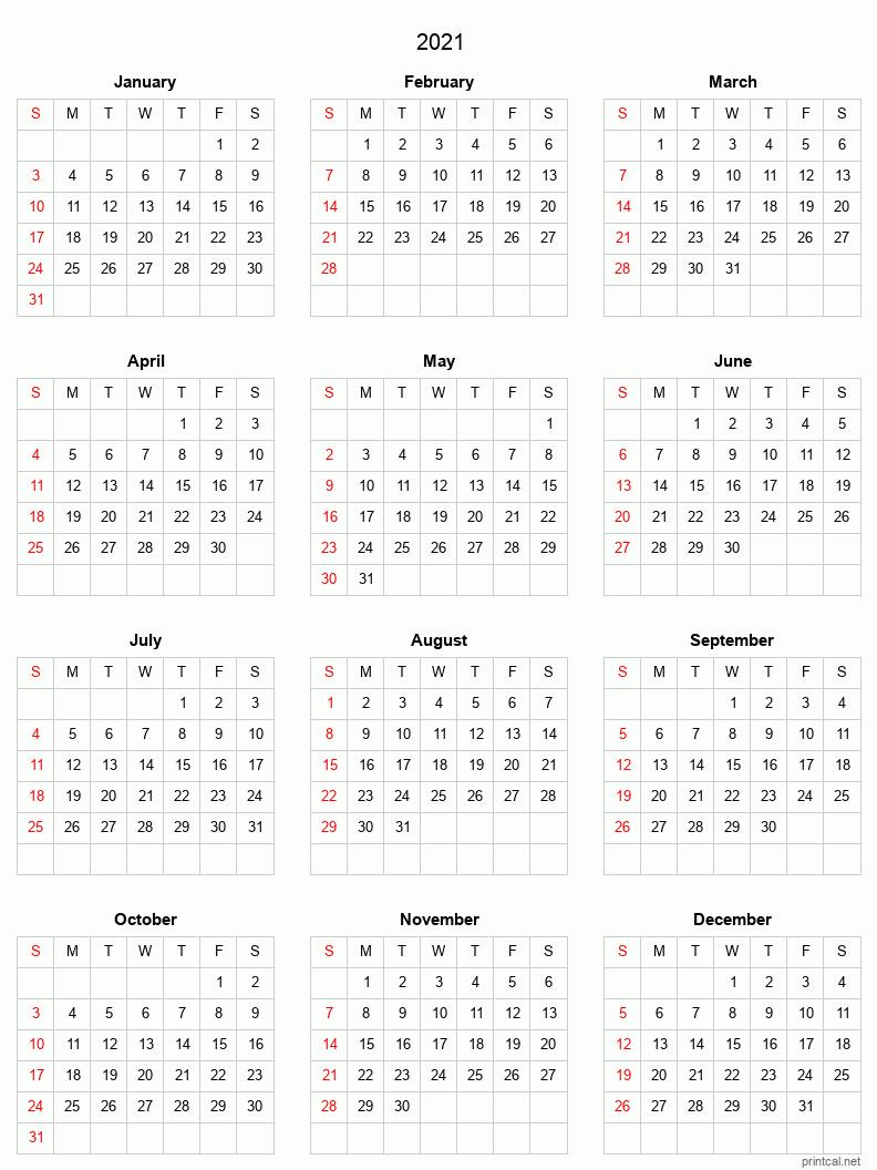 Printable Yearly Calendar 2021, Full-year | Free Printable ...