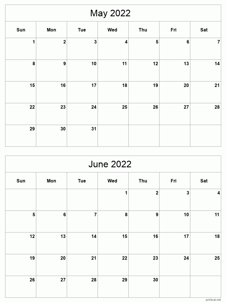 2 month calendar May-Jun 2022