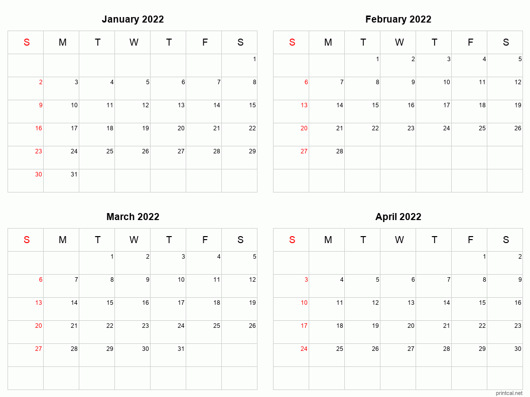 4 month calendar Jan-Apr 2022