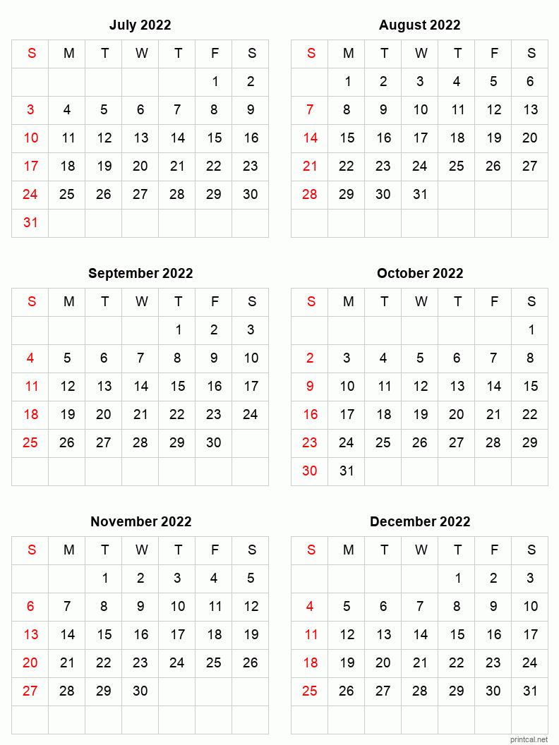 Calendar For Dec 2022.Jul Dec 2022 Printable Calendar Six Months Per Page Printable Calendar