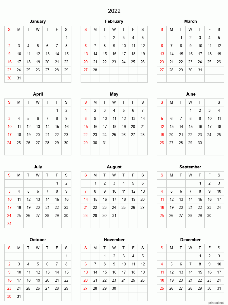 Printable Yearly Calendar 2022, Full-year | Free Printable ...